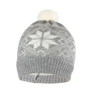 Шапка детская Norveg цвет серый с белыми снежинками (текстильный помпон) 7CWU-053