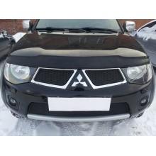 Защита радиатора Mitsubishi L200/Mitsubishi Pajero Sport 2010-2013 black верх